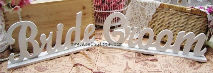 Bride Groom wood letter
