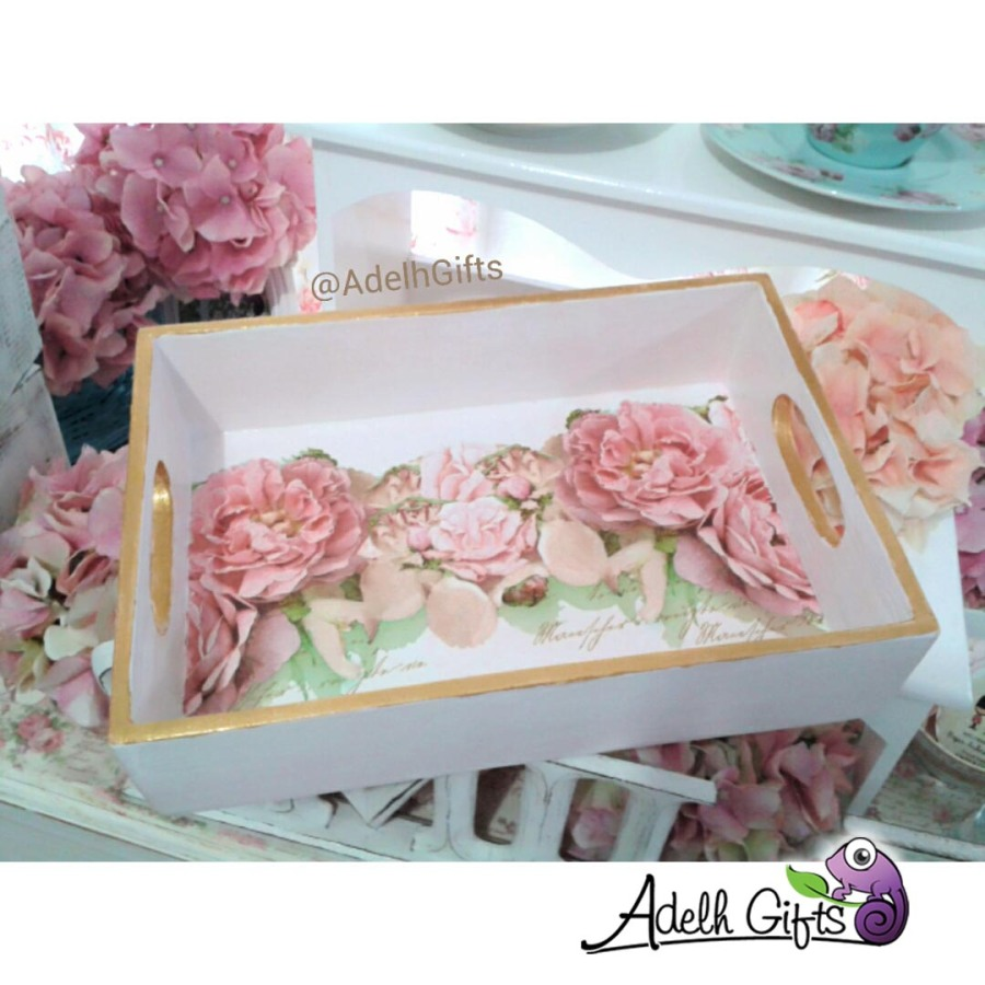 decoupage tray flower