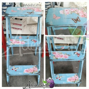 blue decoupage stair