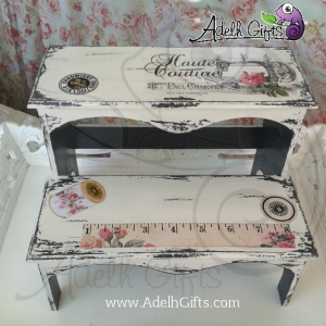 Decoupage on stool.. sewing machine theme