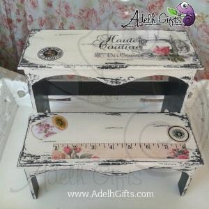Decoupage on stool.. sewing machine theme