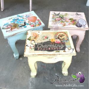square stool decoupage