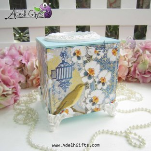 cocktail tissue box birdie white