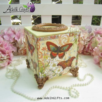 cocktail tissue box butterfly brown