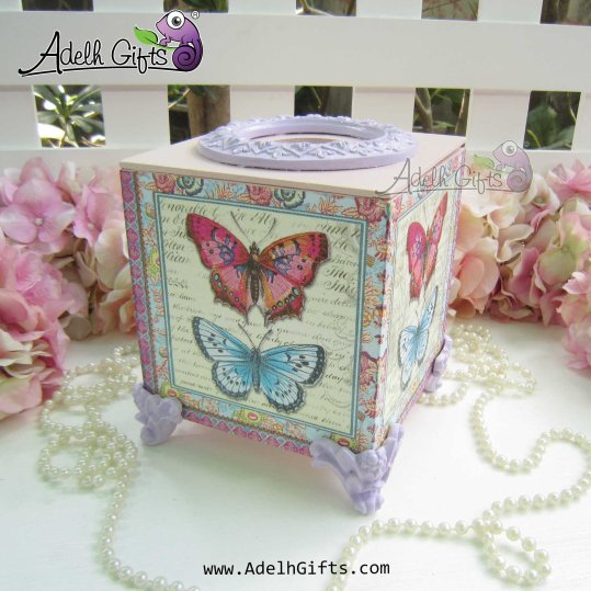 cocktail tissue box butterfly purple
