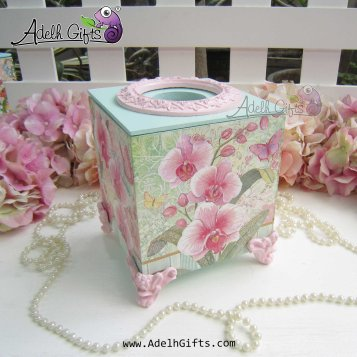 cocktail tissue box orchid pink