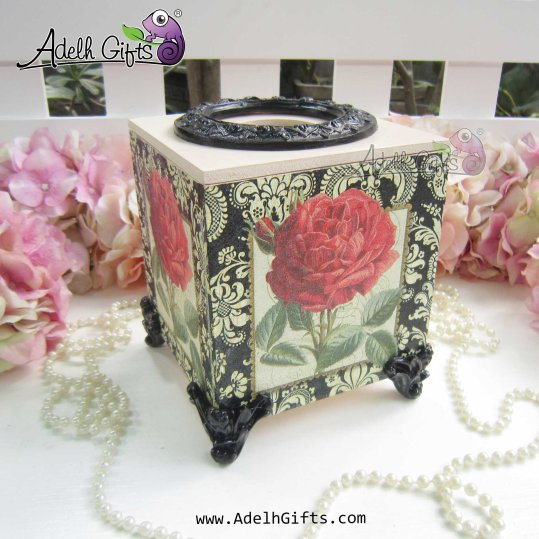 cocktail tissue box rose black