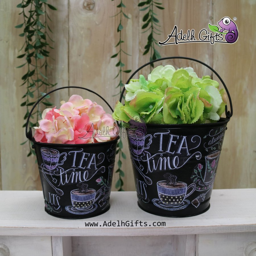 tea time chalkboard bucket