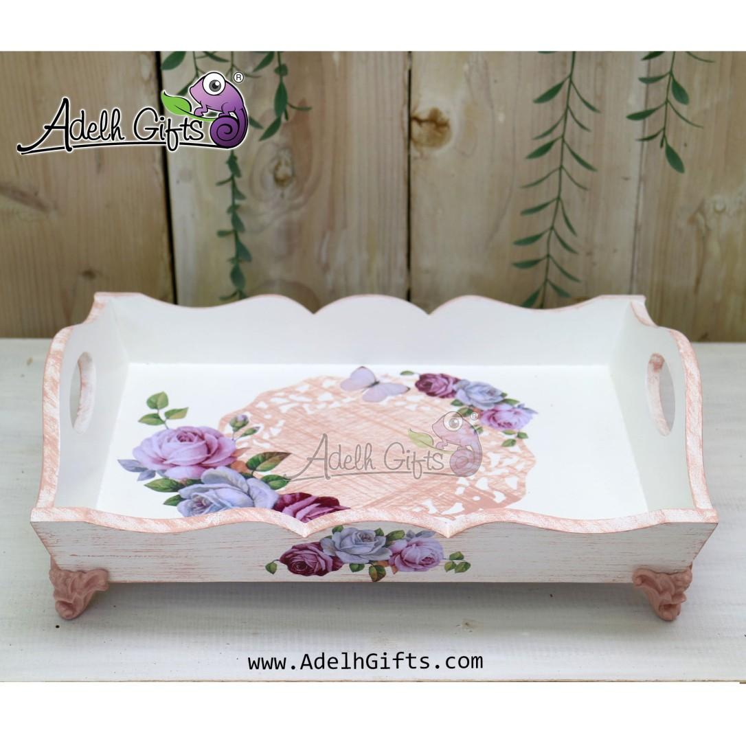 tray kaki resin bunga ungu