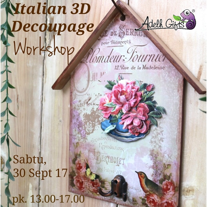 3d italian workshop decoupage surabaya