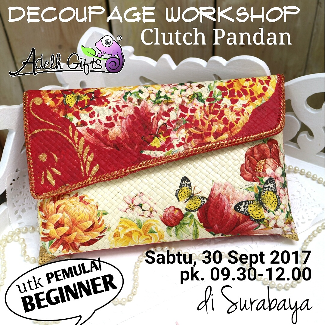 clutch decoupage dompet pandan workshop