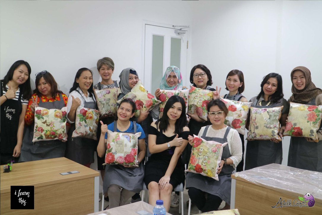 decoupage workshop cushion jakarta